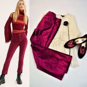Free People Pink Velvet Cropped Flared Pants 26
